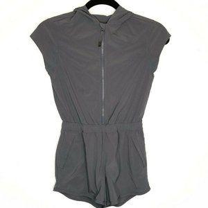 Athleta Girl Ready Go Gray Hooded Zip Up Romper Girls Medium 8 / 9 / 10 Playsuit